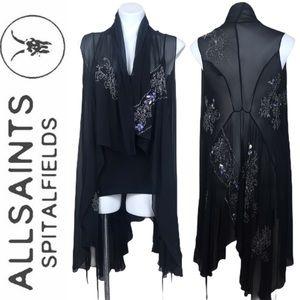 All Saints Silk Beaded Embellished Sequins Vest 6